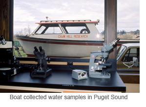 Boat collected water samples in Puget Sound